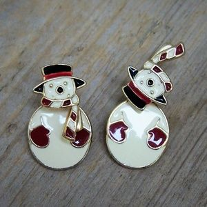 VTG Articulated Enamel Snowman Jacket Earrings
